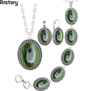 Oval Transparent Crystal Jewelry Set Antique Silver Plated Necklace Earrings Bracelet Fashion Jewelry TS416