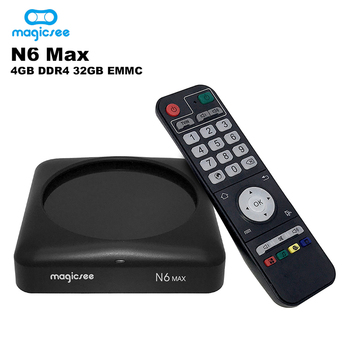 YENI MAGICSEE N6 MAX Android 7.1 TV Kutusu Rockchip3399 4 GB/32 GB 2.4G/5G WiFi 1000 M USB3.0 OTG BT4.1 Destek 4 K H.265 Set Top Box