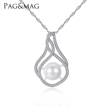 PAG&MAG Brand Luxury Pearl Pendant Necklace S925 Silver Wave Chain Women Necklace for Women Gift Box for Free Factory Wholesale