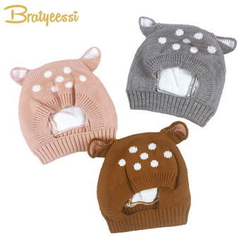 New Deer Knit Baby Bonnet with Ears Cartoon Winter Infant Baby Hat for 6-24 Months 1 PC