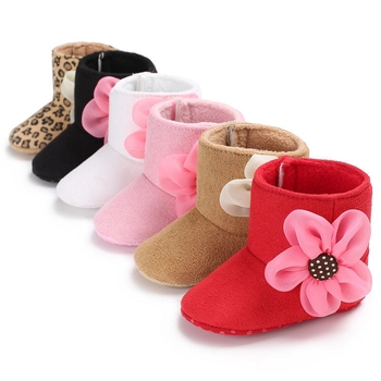 Newborn Kids Baby Girls Flower Snow Warm Shoes Winter Soft Sole Prewalker Plush Boots Casual