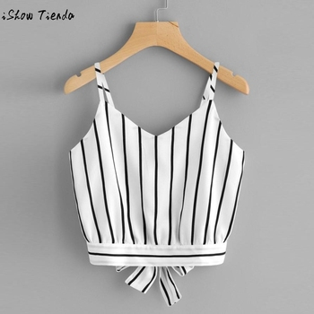 Women shirt Crop top summer sexy fashion Sling vest bow Women's Self Tie V Neck Striped Crop cami Top Camisole Blouse