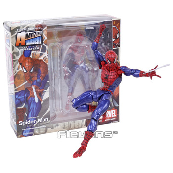 Revoltech Serisi NO. 002 Spiderman The Amazing Spider Man PVC Action Figure Koleksiyon Model Oyuncak 16 cm
