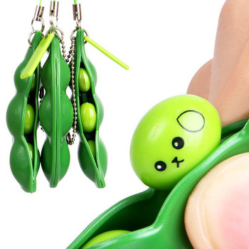 Fun Green Beans Squeeze Toys Pendants Anti Stress Squeezing Funny Novelty Gags Decompression Toy For Kids Children Gift